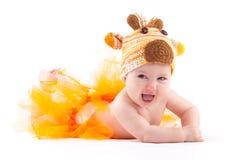 Cute Cheerful Baby Girl In Deer Costume Stock Image