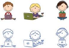 Cute cheerful boys with laptops Stock Photos