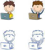 Cute cheerful boys with laptops Stock Images
