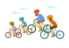 Cute cheerful cartoon family riding bikes bicycles, cycling together isolated vector illustration. Scene vector illustration