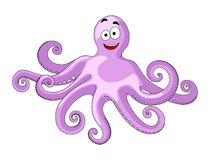 Cute cheerful cartoon octopus Stock Photography
