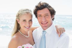 Cute cheerful couple on their wedding day Stock Photo