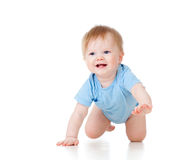 Cute cheerful crawling baby boy Royalty Free Stock Image
