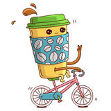 Cute and cheerful cup of coffee on a pink bike rides. Vector illustration on white background vector illustration