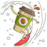 Cute and cheerful cup of coffee surf. Vector illustration on white background royalty free illustration