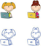 Cute cheerful girls with laptops Royalty Free Stock Photography