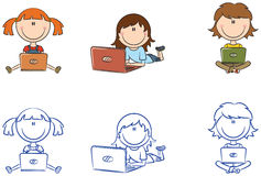Cute cheerful girls with laptops Royalty Free Stock Images
