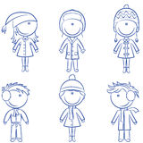 Cute cheerful kids in winter clothes Stock Images