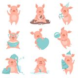 Cute cheerful little pink pigs set, funny piglets cartoon characters in different situations vector Illustration on a royalty free illustration