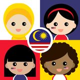 Cute and cheerful Malaysian supporter. Set of cute and cheerful Malaysian supporter royalty free illustration