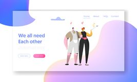 Cute Cheerful Man and Woman Take Selfie Together Landing Page. Beautiful Couple in Love on Social Networks. Lovers. Meeting Character Website or Web Page. Flat stock illustration