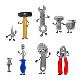 Cute cheerful set of vector tools with arms and legs. Funny characters - Screws, Confirmat, bolt, nut, hammer, screwdriver, adjustable wrench, pliers - stand and Royalty Free Stock Photo