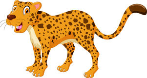 Cute Cheetah cartoon posing Stock Photos