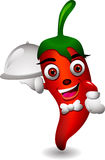 The cute chef chili cartoon Royalty Free Stock Photos