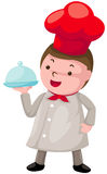 Cute chef with covered plate Stock Image