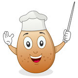 Cute Chef Egg Character with Pointer Royalty Free Stock Photo