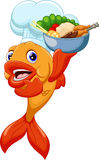 Cute chef fish cartoon Stock Photo