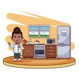 Cute chef girl cartoon. Cute chef girl cooking at kitchen cartoon vector illustration graphic design Stock Illustration