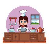 Cute chef girl cartoon. Cute chef girl cooking at kitchen cartoon vector illustration graphic design Royalty Free Illustration