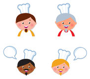 Cute Chef heads icons collection isolated on white Stock Illustration