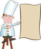 Cute chef holding a menu Stock Photo