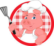 Cute chef pig mascot cartoon Stock Photos