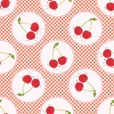 Cute cherry polka dot vector illustration. Seamless repeating pattern stock illustration
