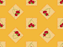 Cute cherry seamless pattern. Seamless pattern with cherry and leaf on orange background Stock Photo