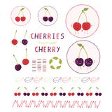 Cute cherry vector illustration clipart set. Hand drawn kawaii cherries leaf royalty free illustration