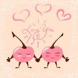 Cute chery love. Heart illustration for print t-shirt. stock illustration