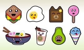 Cute Chibi Food Items Vector Art for Planner Sticker Sheets and More Royalty Free Stock Photos