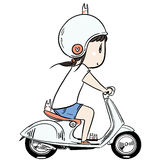 Cute chibi girl riding scooter Royalty Free Stock Images