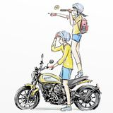 Cute boy and girl riding scooter. Cartoon sticker of boy and girl riding scooter Stock Image