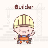 Cute chibi kawaii characters. Alphabet professions. Letter B - Builder. Flat style stock illustration