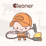 Cute chibi kawaii characters. Alphabet professions. The Letter C - Cleaner. Flat cartoon style vector illustration