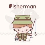 Cute chibi kawaii characters. Alphabet professions. Letter F - FFisherman Royalty Free Stock Image