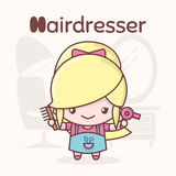 Cute chibi kawaii characters. Alphabet professions. Letter H - Hairdresser royalty free stock images