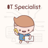 Cute chibi kawaii characters. Alphabet professions. Letter I - IT-Specialist Royalty Free Stock Photography