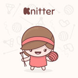 Cute chibi kawaii characters. Alphabet professions. Letter K - Knitter. Flat style vector illustration