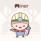 Cute chibi kawaii characters. Alphabet professions. Letter M - Miner. Stock Photos