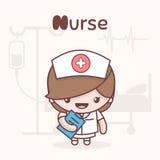 Cute chibi kawaii characters. Alphabet professions. Letter N - Nurse. Royalty Free Stock Photo