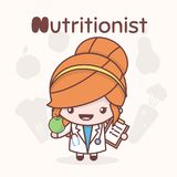 Cute chibi kawaii characters. Alphabet professions. The Letter N - Nutritionist. Flat cartoon style royalty free illustration