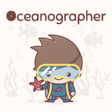 Cute chibi kawaii characters. Alphabet professions. Letter O - Oceanographer. Flat style Stock Photo