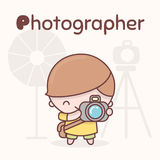 Cute chibi kawaii characters. Alphabet professions. Letter P - Photographer. Flat style Royalty Free Stock Photos