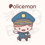 Cute chibi kawaii characters. Alphabet professions. Letter P - Policeman Royalty Free Stock Image