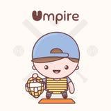 Cute chibi kawaii characters. Alphabet professions. Letter U - Umpire. stock illustration