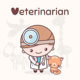 Cute chibi kawaii characters. Alphabet professions. Letter V - Veterinarian Stock Photography