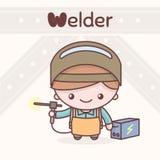 Cute chibi kawaii characters. Alphabet professions. The Letter W - Welder. Flat cartoon style stock illustration