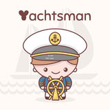 Cute chibi kawaii characters. Alphabet professions. Letter Y - Yachtsman Royalty Free Stock Photos