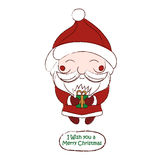 Cute chibi Santa Claus vector drawing card Royalty Free Stock Photos